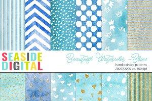 Beautiful Watercolor Patterns-Blues