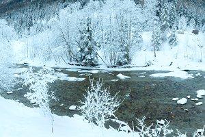 Winter mountain river