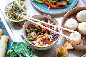 Asian salad with chicken stir-fry