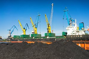 Cranes in the port of the Baltic Sea