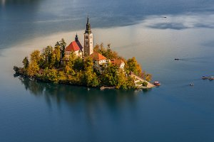 Lake Bled on autumn morning