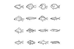 Cute fish icons set, outline style