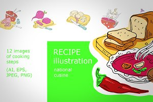Recipe of tasty soup. Vector.