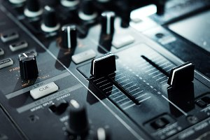 DJ console close up