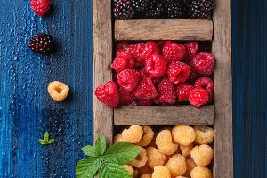 colorful yellow and red raspberries