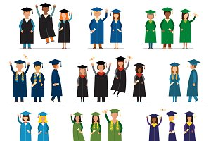 Graduate people flat vector