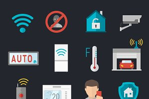 Remote home control vector icons