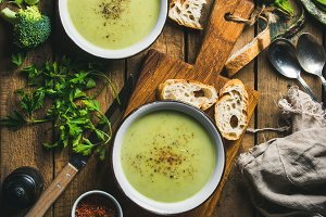 Two bowls of cream soup