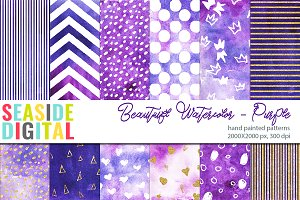 Beautiful Watercolor Patterns-Purple