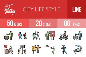 50 City Lifestyle Line Filled Icons