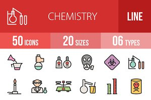 50 Chemistry Line Filled Icons