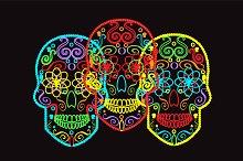 Skulls vector neon color
