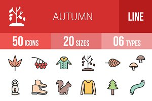 50 Autumn Line Filled Icons