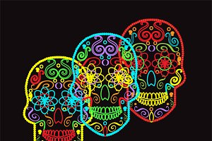 Skull vectors neon color