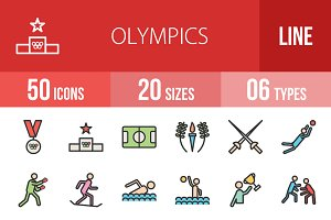 50 Olympics Line Filled Icons