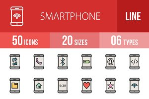 50 Smartphone Line Filled Icons