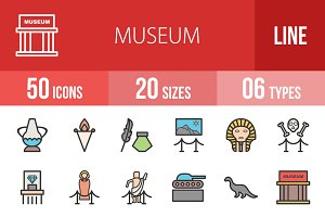 50 Museum Line Filled Icons