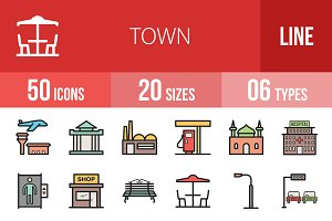50 Town Line Filled Icons