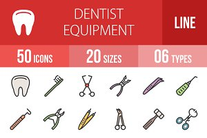 50 Dentist Line Filled Icons