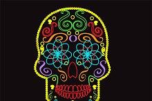 Skull vector neon color