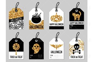 Gold Halloween Tags