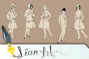 Set of elegant women - retro style