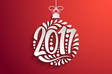 Christmas ball lettering 2017 year