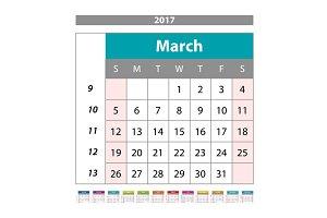 March  Calendar 2017 vector