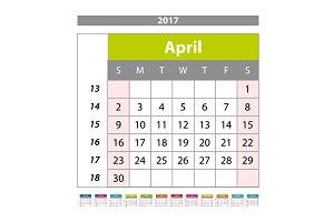 april  Calendar 2017 vector
