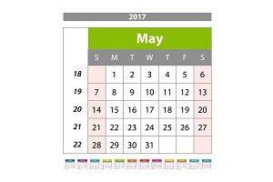 may Calendar 2017 vector