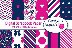 Hot Pink & Navy Digital Paper