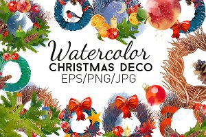 Watercolor christmas deco