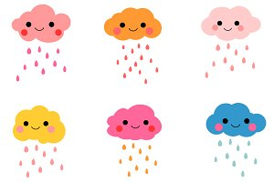 Cute rain clouds clip art