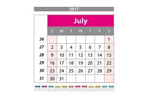 july Calendar 2017 vector
