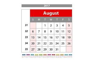 August Calendar 2017 vector