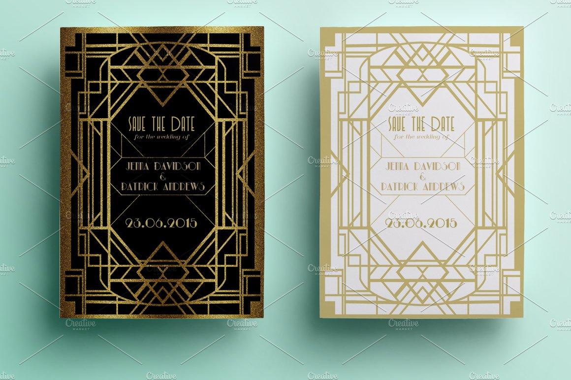 Art Deco Save the Date ~ Invitation Templates ~ Creative Market
