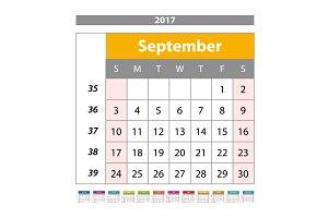 September. Calendar 2017 vector