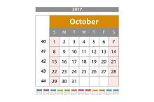 October. Calendar 2017 vector