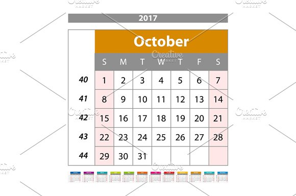 October. Calendar 2017 vector - Graphics