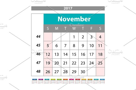 November. Calendar 2017 vector - Graphics