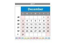 december Calendar 2017 vector.
