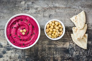 Beet hummus,chickpeas and pita bread