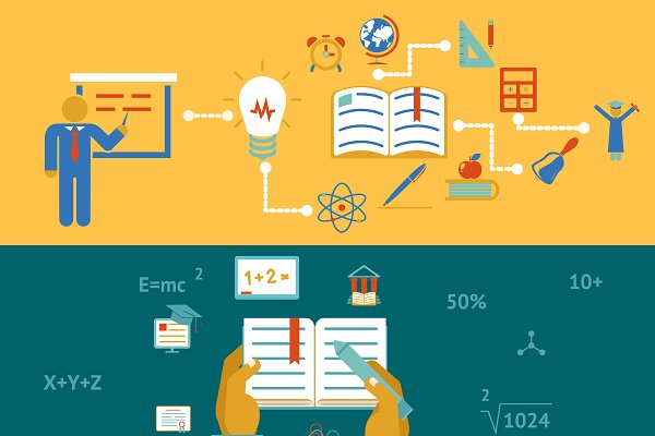 Education And Learning Banners Pre Designed Illustrator Graphics Creative Market