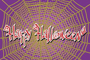 Happy Halloween spiderweb and spider
