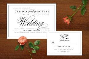Elegant Script BW Wedding Invitation