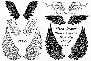 Hand Drawn Wings Clipart