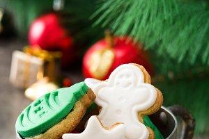Christmas cookies in a metal cup