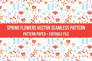 springflower vector seamless pattern