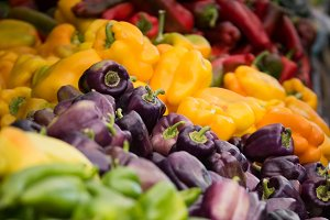 Vegetables: Rainbow of color peppers