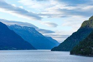 Evening Hardangerfjord landscape.